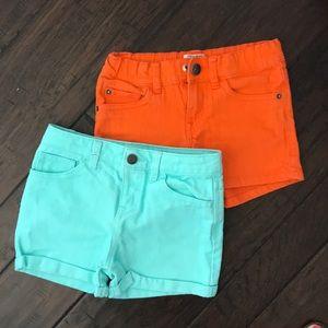 Girls colored denim shorts 2 pair